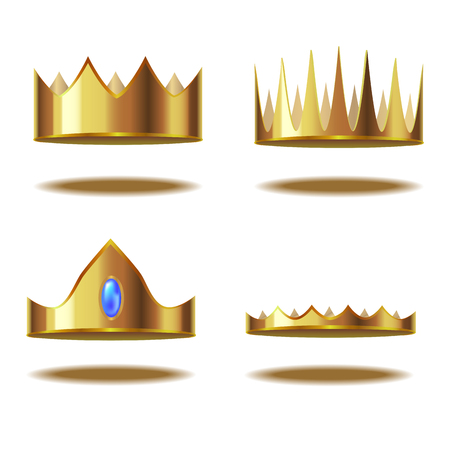 Realistic Detailed 3d Golden Crown Set. Vector illustration. Illustration