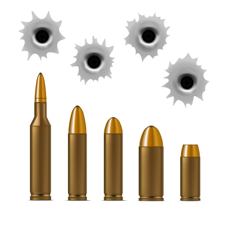 Realistic Detailed 3d Bullets and Bullet Holes Set. Vector illustration.