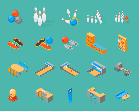 Bowling Game Icons Set Isometric View. Vector illustration. Illustration