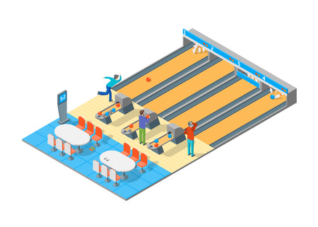 Bowling Alley Throwing Strike 3D Isometric View Sport Game or Leisure Hobby Concept. Vector illustration of Competition Tournament Illustration