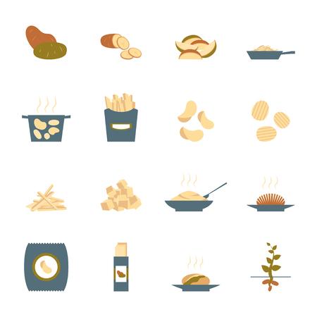 Cartoon Color Potato Icons Set. Vector