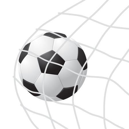Realistic Detailed 3d Soccer Ball Hitting on Net. Vector Foto de archivo - 93458802