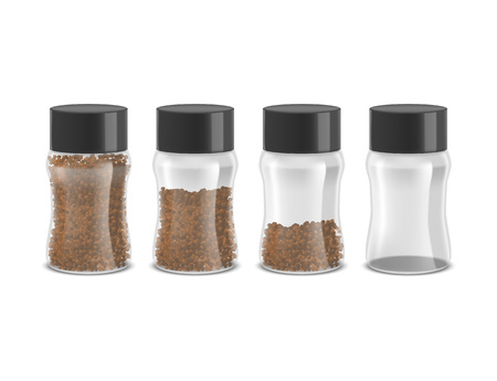 Realistic Detailed 3d Instant Coffee Glass Jar Set. Vector