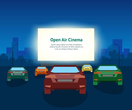 Manifesto della carta del cinema all'aperto dell'automobile di vettore. Illustrazione d'annata con le automobili e la città di notte, evento romantico Vettoriali