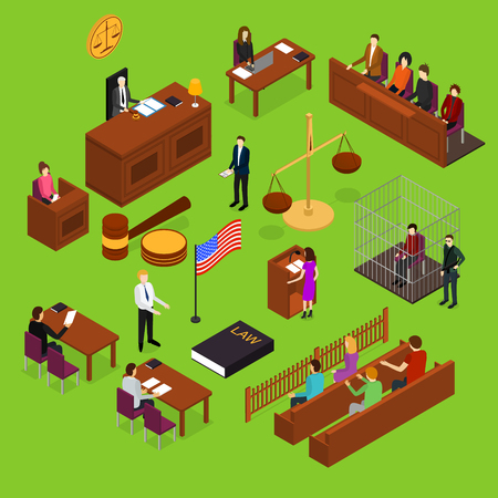 Court Session Concept 3d Isometric View. Vector