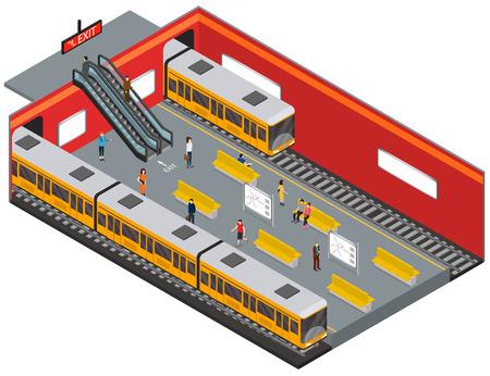 Przedstawiający widok izometryczny stacji metra. Wektor