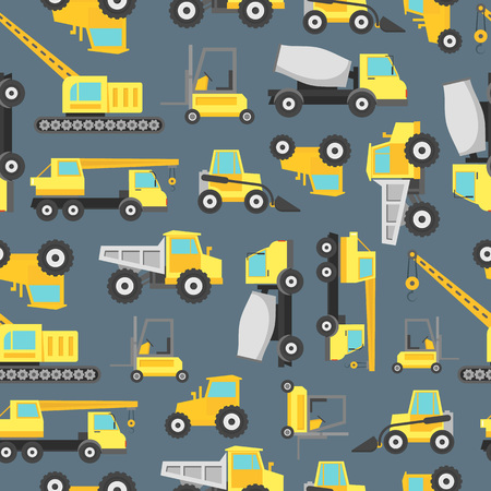 Cartoon Construction Machinery Seamless Pattern Background. Vector