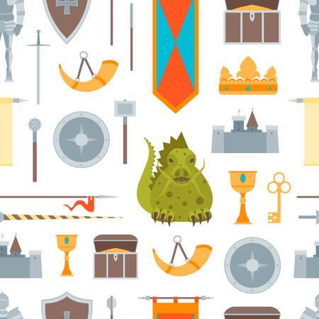 Cartoon Symbol Of Mediaeval Seamless Pattern Background On A