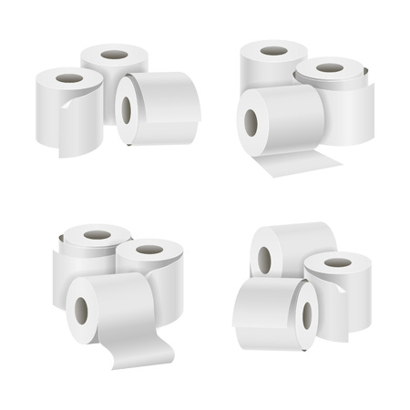 Realistic Template Blank White Toilet Paper Different Set. Vector