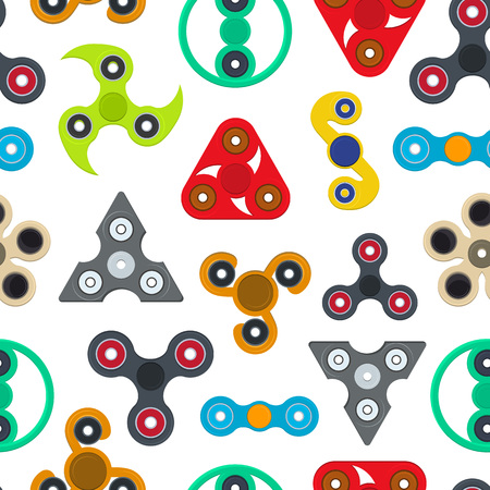 Cartoon Spinner Toy Seamless Pattern Background. Vector