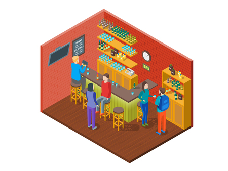 Bar Drinking Interior with Furniture Isometric View. Vector