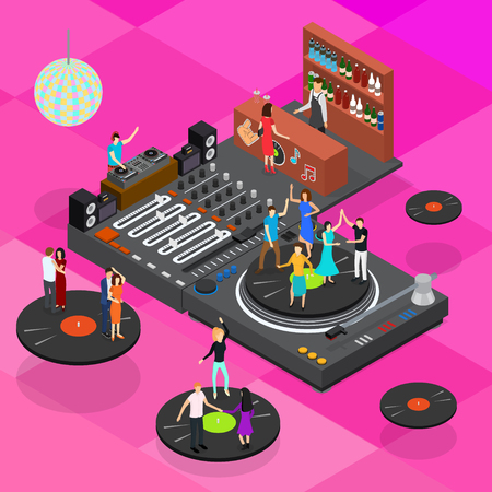 DJ Club Bar Concept 3d Isometric View Elements of Music Party and Disco Vinyl Dance. Vector illustration of Entertainment Vectores