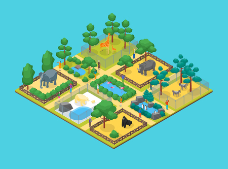 Zoo Concept 3d Isometric View Animal Wildlife Nature Park on a Blue Background. Vector illustration of Zoological Garden