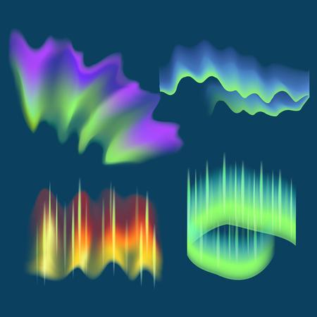 Realistische detaillierte 3d Nordlichter eingestellt . Vektor Standard-Bild - 94448379