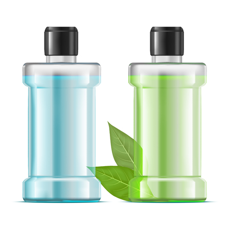 Realistic Detailed 3d Water Mouthwash Green and Blue Set Dental Clean Hygiene and Health Care Concept. Vector illustration of Bottle