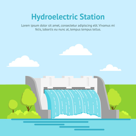 Cartoon Hydroelectric Station on a Landscape Background Card Poster.