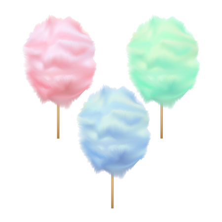Realistic Detailed 3d Trendy Color Cotton Candy Set Sweet Sugar Dessert on Stick Summer Tasty Food. Vector illustration Ilustração