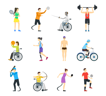 Cartoon Disabled Sports Characters Icon Set. Vector
