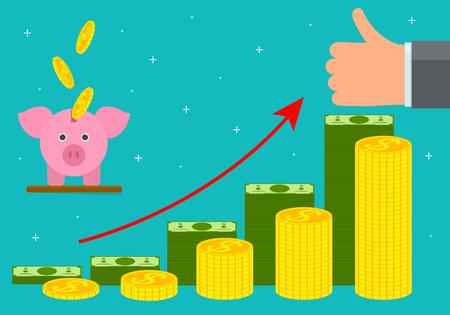 Cartoon Retirement Money Concept Card Poster. Vector Illustration
