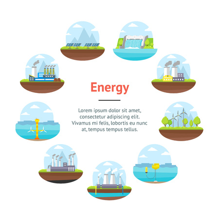 Cartoon energy generation banner card circle renewable environmental resources alternative and traditional include of sun panel, wind and nuclear station flat style design vector illustration.