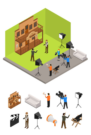 Interior television studio and elements part isometric view vector.