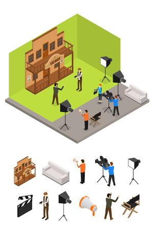 Studio de télévision intérieur et éléments partie vecteur vue isométrique. Banque d'images - 94937490