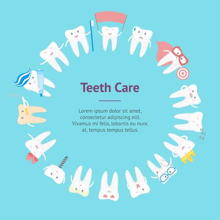 Cartoon tooth banner card circle vector.