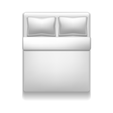 Realistic Detailed 3d Template Blank White Bed Mock Up. Vector