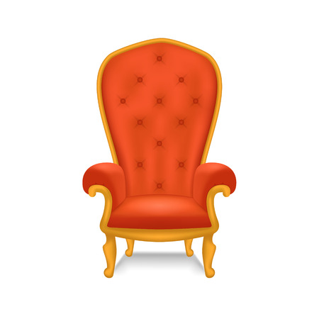 Realistic detailed 3d luxurious antiquarian armchair vector illustration