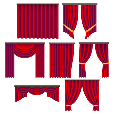 Realistic Detailed 3d Red Window Curtains Set. Vector Illustration