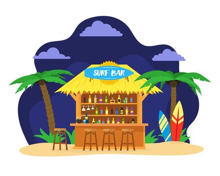 Cartoon surf beach bar. Summer vacation travel concept. Vector illustration.