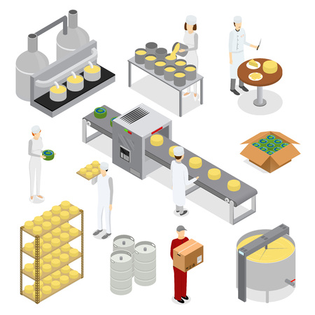 Factory Cheese Production Line Elements and Staff. Vector 일러스트