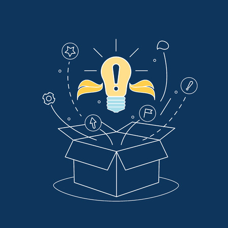 Box Idea with Electric Light Bulb Thin Line Concept. Vector Illustration