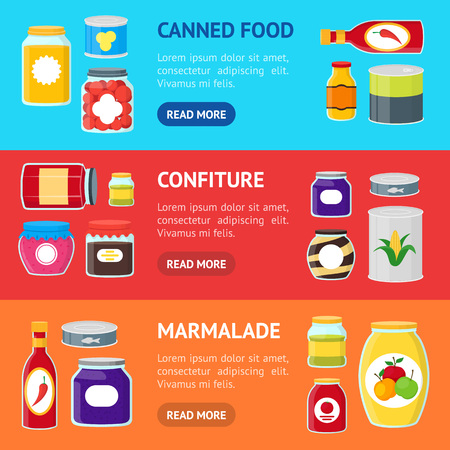 Cartoon Canned and Jar Food Banner Horizontal Set. Vector Vettoriali