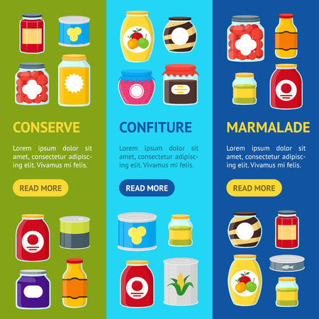 Cartoon Canned and Jar Food Banner Vecrtical Set . Vector.