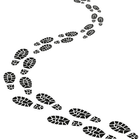 Black Footprints Silhouette Set. Vector Фото со стока
