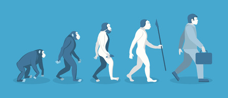 Stage of Human Evolution from Monkey to Businessman. Vector illustration.