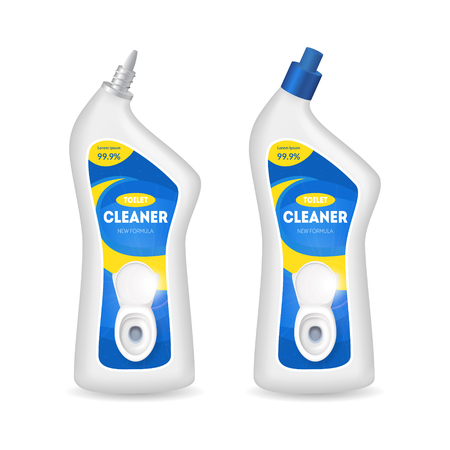 Realistic detailed 3d bottles with toilet cleaner vector.