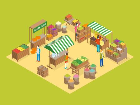 Local farm market concept 3d isometric view vector.