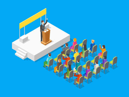 Politician business concept 3d isometric view vector.