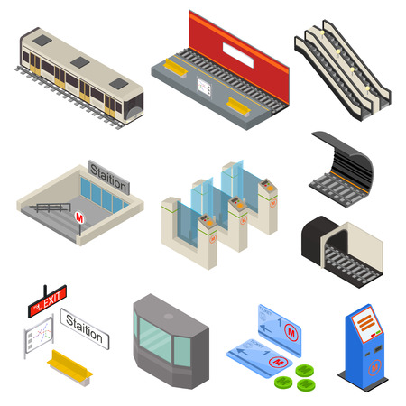 Metro station 3d icons set isometric view vector. Illustration