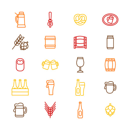 Beer Alcohol Drink Color Thin Line Icon Set Liquid Beverage Bar or Pub Symbols Include of Beer Glass, Bottle, Can and Mug. Vector illustration
