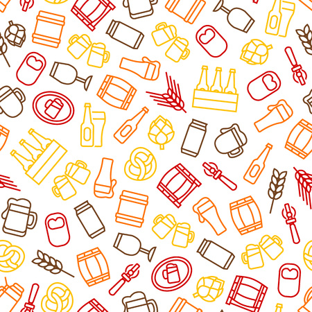 Beer Alcohol Drink Thin Line Seamless Pattern Background on a White Liquid Beverage Bar or Pub Symbols Include of Beer Glass, Bottle, Can and Mug. Vector illustration Ilustrace