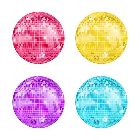Realistische detaillierte Disco Ball Night Club oder Party Set Light Element Mirrorball für die Dekoration. Vektorabbildung von Discoball Standard-Bild - 96805883
