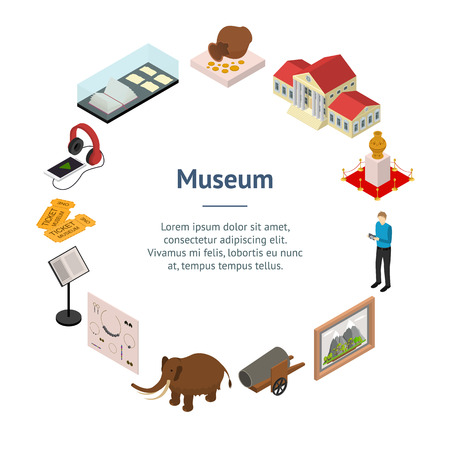 Exhibits in museums and galleries banner card circle isometric view vector.