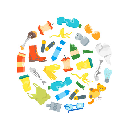 Cartoon trash and garbage round design template vector.