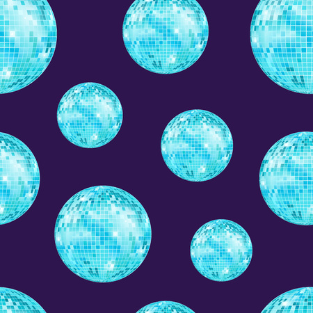 Realistic detailed disco ball seamless pattern background vector. Illustration