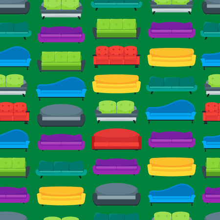 Cartoon sofa or couch seamless pattern background vector. Vectores