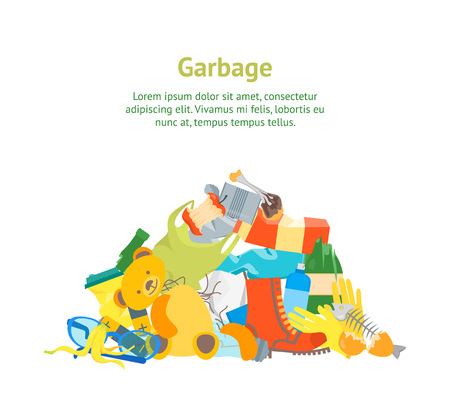 Cartoon trash and garbage card poster ecology recycling concept flat design style, vector illustration of waste. Vettoriali