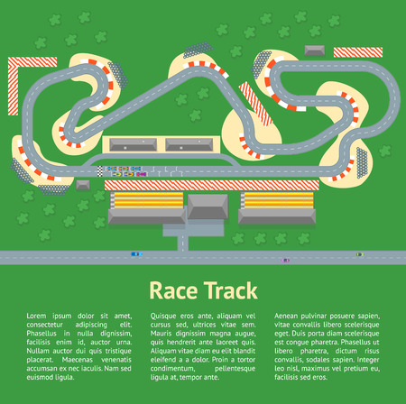 Cartoon Race Track with Cars Card Poster. Vector